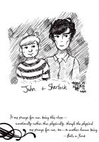 Sherlock and John Doodle by BrightRedEyes