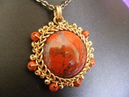 Red Jasper Bronze Pendant by BacktoEarthCreations