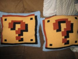Super Mario Brothers Pillow Question Blocks by RamblerOwl