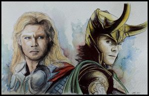 Thor and Loki by SallyGipsyPunk