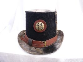 Steam punk hat with Celtic goggles back by Serata