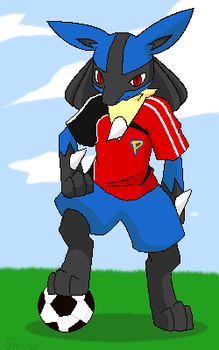 Lucario with soccer by Shioulion