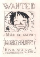 Luffy Wanted Poster by ObsessiveGirl827