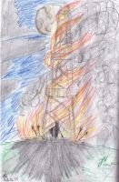 burning tower by John-Will