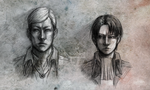 Erwin Smith and Levi - portraits by Yuushin7