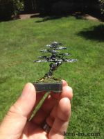 Hematite and silver wire bonsai tree by Ken To by KenToArt