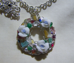 Gemstone and Crystal Flower Wreath Pendant by mymysticgems