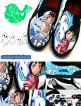 Princess Mononoke / Spirited Away Shoes by artsyfartsyness