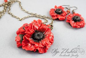 Poppies of polymer clay by polyflowers