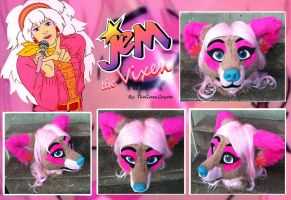 Truly Outrageous JEM fursuit head by TheGreenCoyote