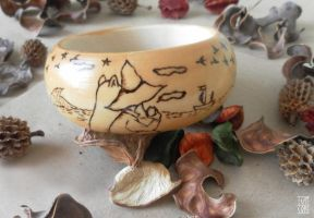 Moomin - wood burning bracelet by HiranoKarasu