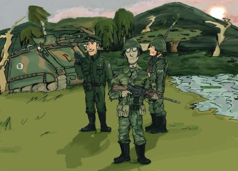 Brazilian soldiers in Pantanal (From manga) by Gukpard