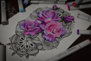 Tattoo sketch rose with lace by ABYSS-TAT-2S