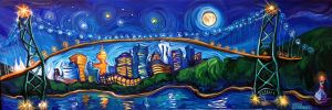 Vancouver Night Out Panorama by Laurazee