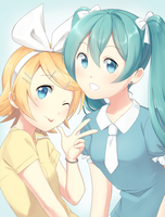 Rin and Miku by Gumwad201
