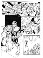 Judge Dredd page 1 inked by GibsonQuarter27