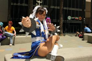 Chun Li cosplay sitting pose (AM2) Mochibytes by LexLexy