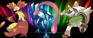 Delphox, Greninja and Chesnaught by Phatmon66