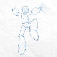 Sketch #010 - Mega Man by tsunami-dono