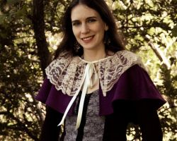 Purple Wool and Ivory Lace Capelet by CrystalKittyCat
