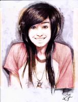 Christina Grimmie Smiling Sketch by EmoHoodieDude