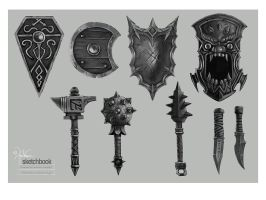 Shields and hand Weapons by churro818