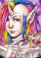ACEO: Unicorn and Rat by 1000Dreams