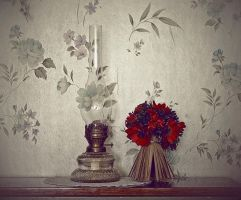 lamp and flowers by lafaette
