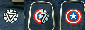 Test Embroidery - Arc Reactor, Stony, Cap's Shield by Saldemonium