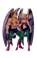 COMMISSION - Hawkman and Hawkwoman by RickCelis