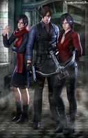 #Carla, Leon, Ada. by DemonLeon3D