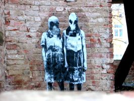 Stencil Children with masks in a destroyed house by Burgi687