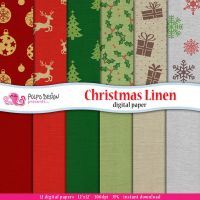 Christmas Linen Digital Paper by PolpoDesign