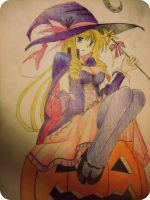 ANIME Witch Girl Halloween by AmandaBloom