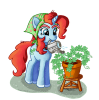 Snowdrop watering a plant by SageEarth