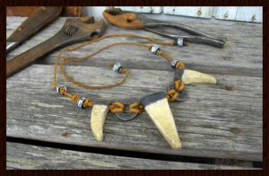Tribal raku necklace by ZombieArmadillo