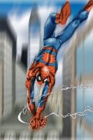 Spiderman swinging by MrStevenTaylor