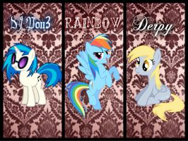 DJ Pon3, Rainbow, Derpy { Requested } by Angelicsweetheart