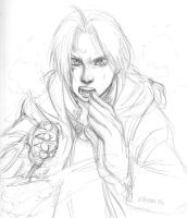 sketch of the Elric boy by cupcakeninja11