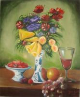 Vase of flowers with fruit. by Oscarliima