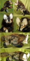 Tricolor wolf anthro soft sculpture by Jarahamee
