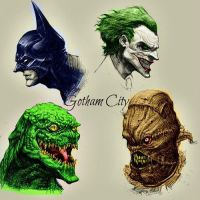 Batman and some Batman villains by jokercrazy