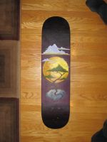 hand-painted skateboard deck by feverdreamsilverfish