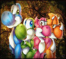 Commissioned the Yoshi Dino's by HG-The-Hamster