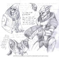 Turian sketches by Quarter-Virus