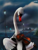 Swan playing violin by AlexLandish