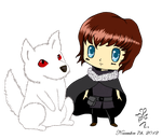 Chibi_Jon_Snow_and_Ghost by HoshiHime5