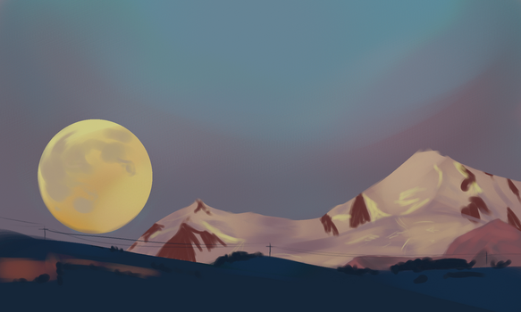 Moon and Mountains by Mesmer12345