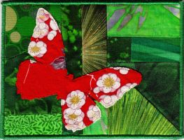 quilted postcard - butterfly by DamnSkippyDesigns