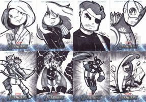 The Avengers Assemble Sketch Cards by mashi